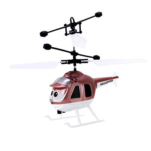 ミニRC赤外線誘導ヘリコプターとフラッシュライトUSB充電インテリジェント誘導航空機の子供のおもちゃ(:金)