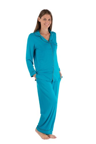 Women's Button-Up Long Sleeve Pajamas - Sleepwear set by Texere (Classicomfort, Capri Breeze, X-Small/Petite) Best Gifts for Mom Sister Girlfriend WB0004-CBZ-XSP (Lounge Breeze)