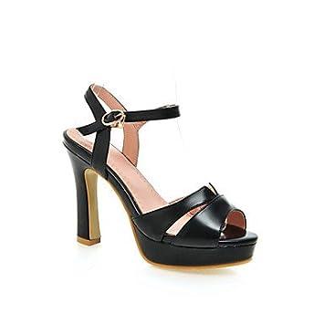 8cc56b1dd1c6 zhENfu Women s Shoes Chunky Heel Heels Peep Toe Platform Sandals Wedding  Party