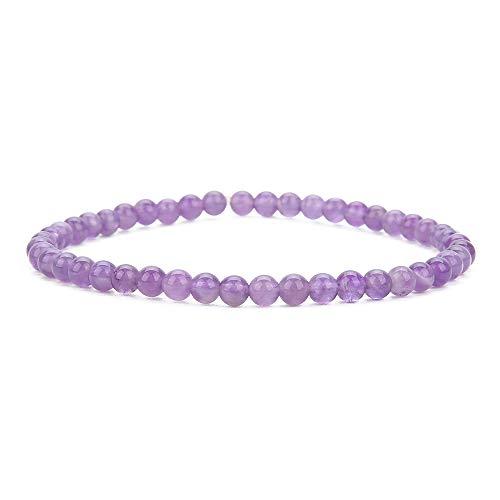 (BALIBALI 4MM Mini Gemstone Energy Bracelets Tiny Amethyst Bracelet Natural Stone Statement Bracelet Charm Beaded Couples Bracelets)