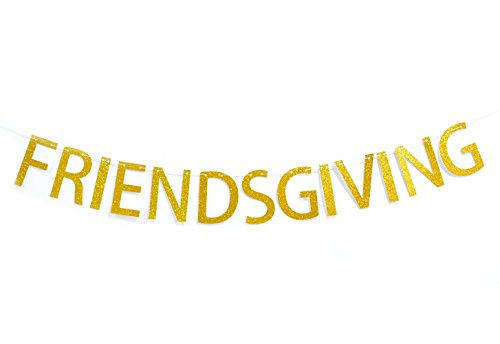 Qttier Friendsgiving Gold Glitter Banner, Thanksgiving Friends Party Decoration