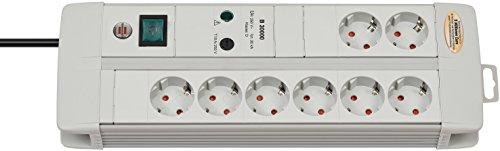 Brennenstuhl Premium-Line Überspannungsschutz-Steckdosenleiste 8-fach lichtgrau mit Schalter, 1256550378