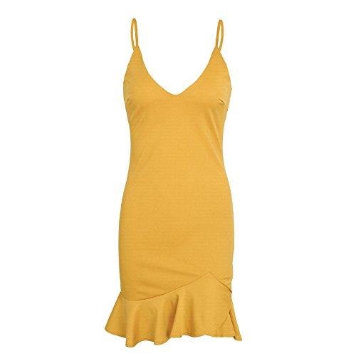 Kleider Damen Kurz Elegant Sommerkleider Armellos Vausschnitt