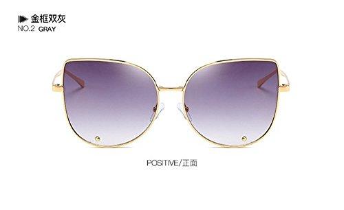 Soleil Cat Lunettes ash Metal chssis Frame Avant De Eye Lunettes JUNHONGZHANG Fashion Mirror Double Sunglasses Big or Garde YqH0dFR