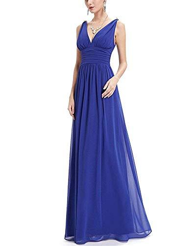 Con Scollo Xl Oudan Sapphire Senza colore Blue Maxi Abito Nero Dimensione Da Profondo V E A Sera Maniche wCqaHY0rqx