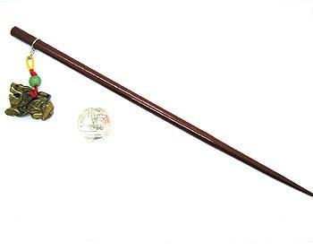 Handmade Wooden Hair Pin Hair Stick Clip with Pixiu Tiger's Eye Stone Accessory Bookmark ()