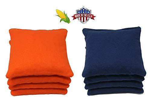 Cornhole Bags Set - (4 Navy Blue, 4 Orange) By Free Donkey Sports