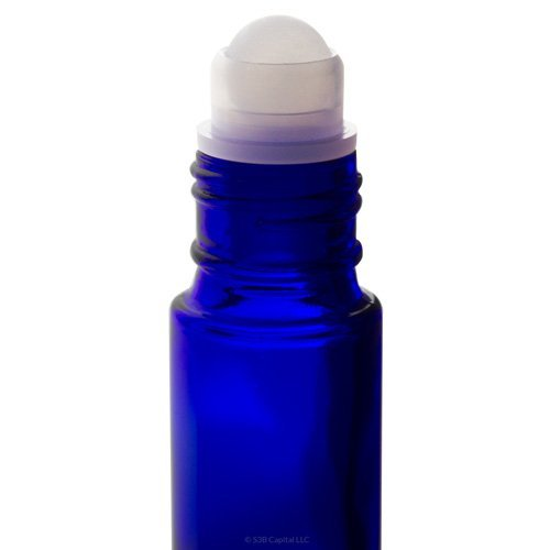 Cobalt Blue Glass Roll-On Bottle with Gold Cap 10 ml / .33 oz (6 pack) for Aromatherapy, Essential Oils, DIY, Perfume, Home and Travel