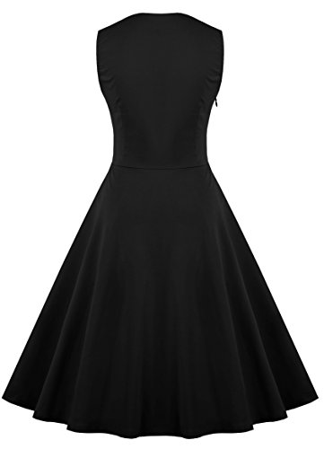 Size sleeveless Pinup Rockabilly Vintage 1950 Plus Cocktail Dresses Dress floral Black KILOLONE Swing fZ7Iw