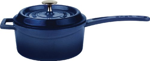 Iron Cobalt - Lava Signature Enameled Cast-Iron 1 Quart Sauce Pan with Iron Handle,  Cobalt Blue
