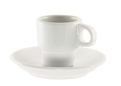 10 Strawberry Street Bistro Demi Cup and Saucer in White (Set of 6) BISTRO-96