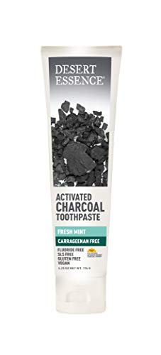 Desert Essence Activated Charcoal Toothpaste - 6.25 Ounce - Fresh Mint - Helps Fight Plaque - Refreshing - Deep Cleans Teeth and Gums - w/Tea Tree Oil - Neem Extract - Non Cruelty