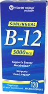 Vitamin World Vitamin B-12 5000 mcg. Sublingual 120 Microlozenges
