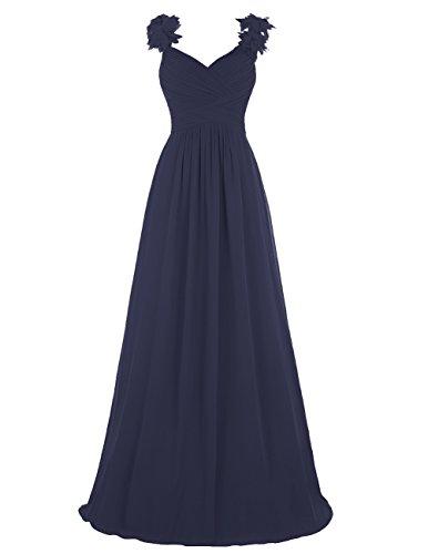 Dresstells®Vestido Ceremonia V Cuello De Gasa Con Tirantes Azul Oscuro