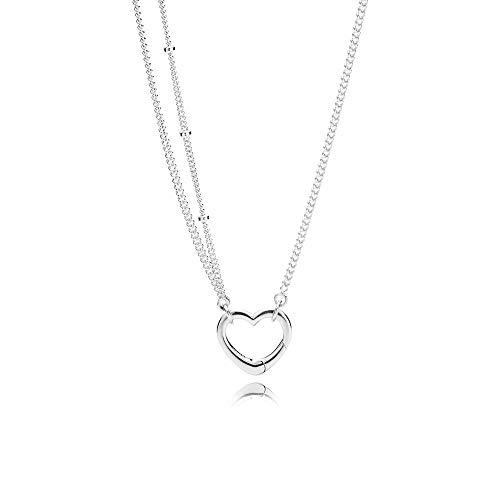 Pandora Open Heart Pendant Silver Necklace 39720470
