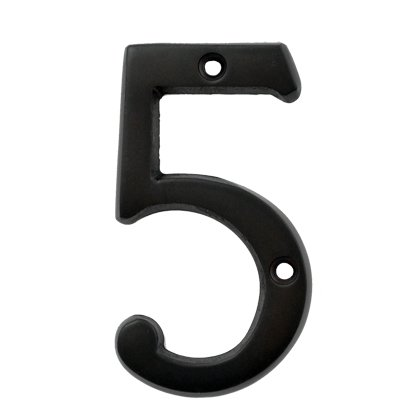 (#5) BOLTON 3 Inch Solid Brass Dark Oil Bronze Finish House Number Raised (Raised Numbers)