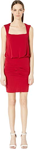 Nicole Miller Women's Stretchy Matte Jersey Sleeveless Blouson Dress Red Medium