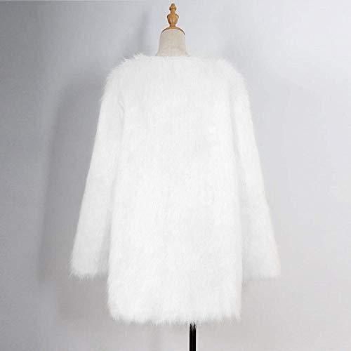 Forti Eleganti Comodo Outerwear Lanoso Cappotto Invernali Pelliccia Caldo Lunga Di Party Giacca Ragazza Donna Bianca Tendenza Taglie Sciolto Finta Giaccone Chic Fashion Fa0wqnz