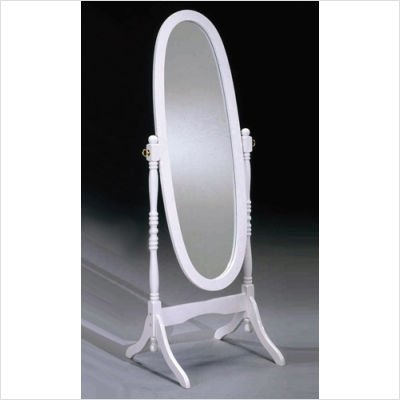 Crown Mark Cheval Mirror, White - Spring White Finish Hill