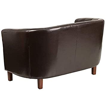 Flash Furniture HERCULES Colindale Series Brown Leather Tufted Loveseat