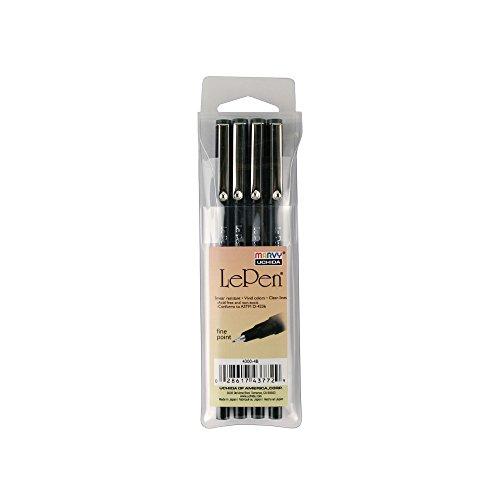 Uchida of America 4300-4B 4-Piece Le Pen Drawing Pen Set, 0.3 Point Size, Black