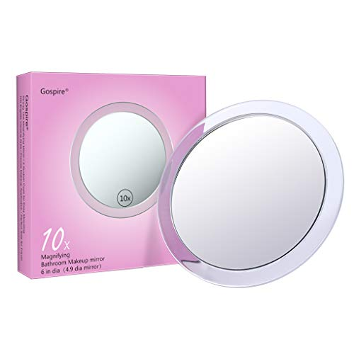 - 10X Magnifying Mirror 6 Inch with 3 Suction Cups Easy Mounting,Gospire Round Pocket Magnified Mirror Used for Precise Makeup Application Eyebrows/Tweezing/Shaving/Blackhead/Blemish Removal