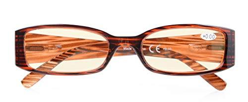 (UV Protection,Anti Blue Rays,Reduce Eyestrain,Computer Reading Glasses Women(STRIPE,Amber Tinted Lenses) +1.5)