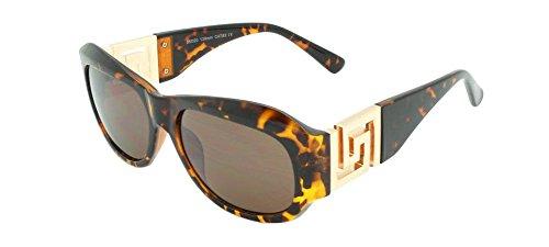 Georgio Caponi Greek Key Classic Oval Sunglasses (Tortoise & Gold Frame, - Migos Shades