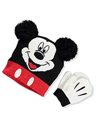 Disney Mickey Mouse Big Boys' Beanie & Mittens Set - black multi, one size
