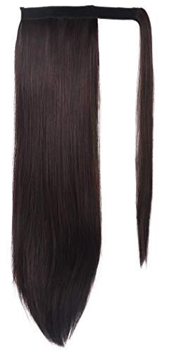 - SEIKEA Clip in Ponytail Extension Wrap Around Natural Hairpiece for Women 20 Inch Straight Hair - Dark Brown(Little Reddish)