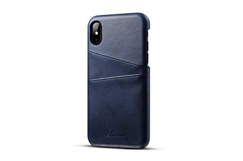 iPhone X Leather Case,TACOO Super Slim Soft Protective Two Credit Card Slots Ultra Thin Phone Back Cover for Apple iPhone 10 2017(Blue) (Hello Kitty Neo Phone)