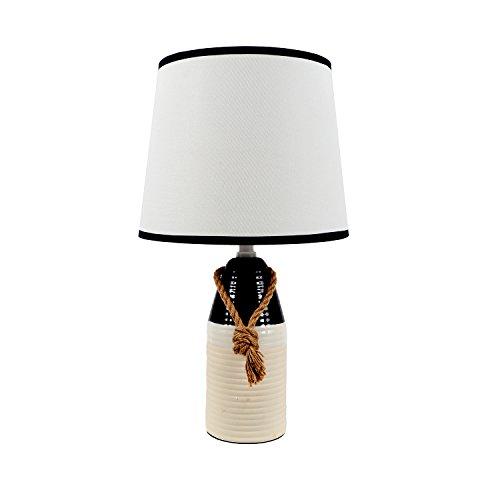 DEI Embossed Buoy Rope SM Décor Lamp, Medium, Blue & White Blue Stripe Table Lamp