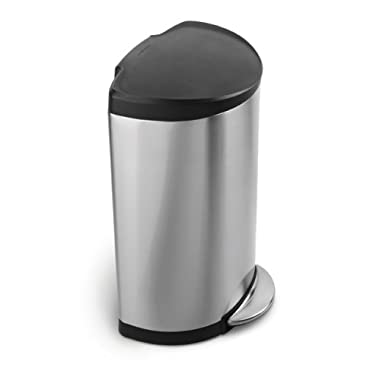 simplehuman Semi-Round Step Trash Can, Stainless Steel, Plastic Lid, 40 L / 10.5 Gal