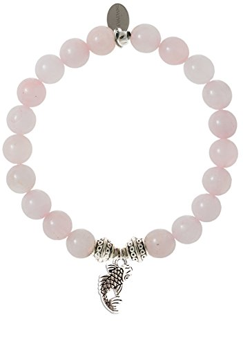 EvaDane Natural Rose Quartz Gemstone Tibetan Bead Koi Fish Charm Stretch Bracelet - Size 9 Inch ( 1_RQ_S_T_KOI_9)