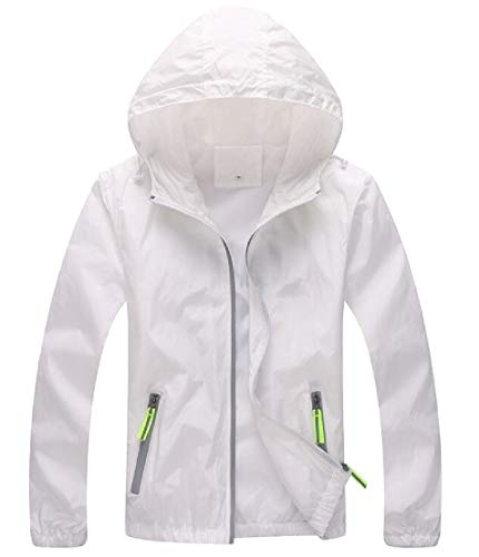Windbeaker Hoodie White Dry TTYLLMAO Thin Breathable Quick Coat Mens Jacket XxqaZ