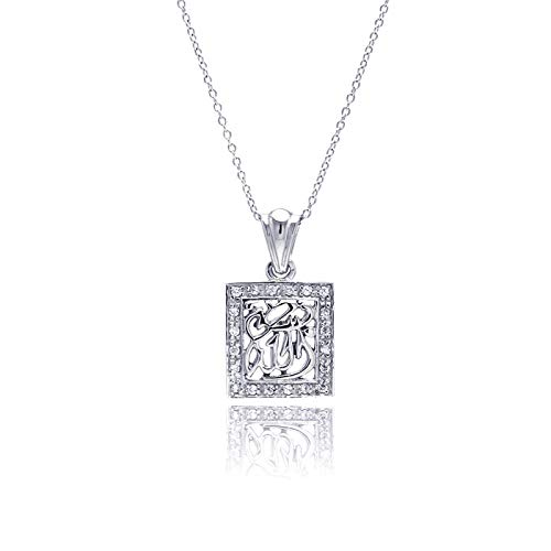 (Aienid Sterling Silver Cubic Zirconia Pendant Necklace for Women)
