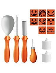 Pumpkin Carving Kit, 4 Pieces Stainless Steel Pumpkin Carving Tools, 2 LED Candles & 8 Carving Stencils Perfect For Halloween Decoration ()