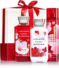 Bath & Body Works Japanese Cherry Blossom Wrapped with a Bow Gift Box Set, Shower Gel 10 Ounce, Body Lotion 8 Ounce, Fragrance Mist 8 Ounce