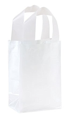 5 x 3 x 7 inch Clear Frosted Plastic Shopping Bags - Case of 250 by STORE001