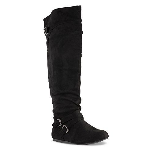 Twisted Women's Shelly Wide Calf Slouchy Over The Knee Faux Leather Fashion Boot- Black Suede, Size 9 by Twisted