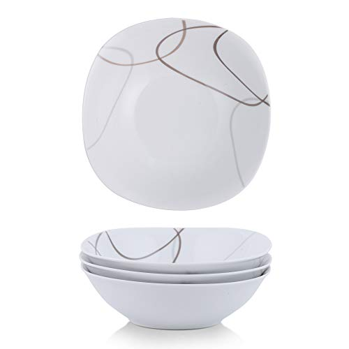 VEWEET 4-Piece Porcelain Cereal Bowl Set, 15-Ounce Durable Ivory White Serving Bread Bowls NIKITA - 15 Piece Porcelain