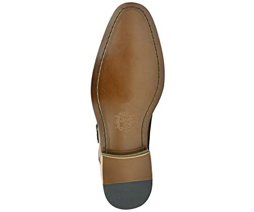 Asher Green Mens Tan Genuine Leather Perforated Cap Toe Double Monkstrap Dress Shoe : AG1101-028