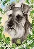 "Schnauzer Uncropped by Tamara Burnett St. Patricks Day Garden Dog Breed Flag 12"" x 17″"