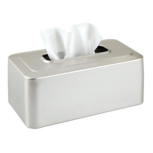 mDesign Modern Metal Tissue Box Cover for Disposable Paper Facial Tissues, Rectangular Holder for Storage on Bathroom Vanity, Countertop, Bedroom Dresser, Night Stand, Desk, Table - Satin