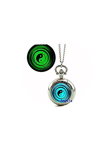 et Watch Necklace Chinese Eight Diagrams Jewelry Glowing Pocket Watch Necklace ()
