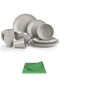 31AAl7zph5L. SS300 Moritz Melamin Camping Geschirr Set 4 Personen Toffee Design + 1x Mikrofasertuch grün Campinggeschirr Tafelgschirr