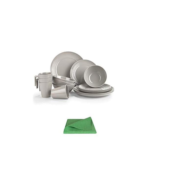 Moritz Melamin Camping Geschirr Set 4 Personen Toffee Design + 1x Mikrofasertuch grün Campinggeschirr Tafelgschirr