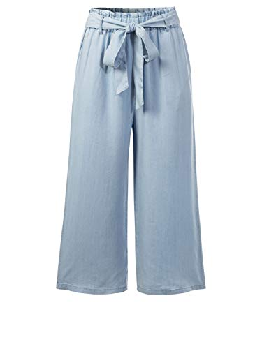 Design by Olivia Women's Elastic Waist Wide Leg Cropped Capris Drawstring Jean Light Blue M
