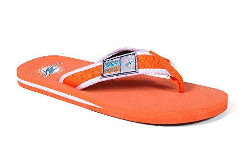 Forever Collectibles Officially Licensed NFL Contour Flip Flops - Happy Feet and Comfy Feet Miami Dolphins