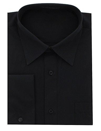 Delano Standard Fit French Cuffs Mens Dress Shirt,Black-18 1/2-36/37